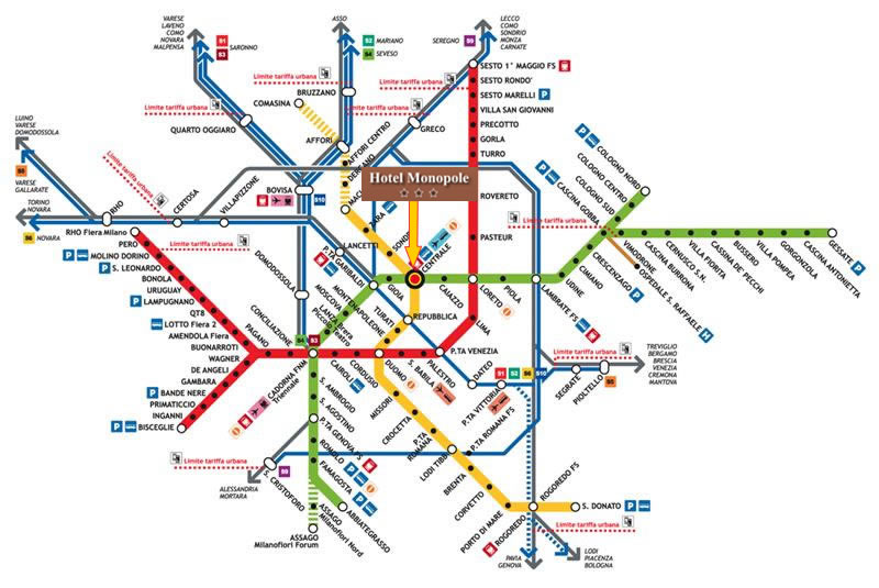 Milan Subway Map.Hotel Monopole Milan 3 Star Accommodation Milan